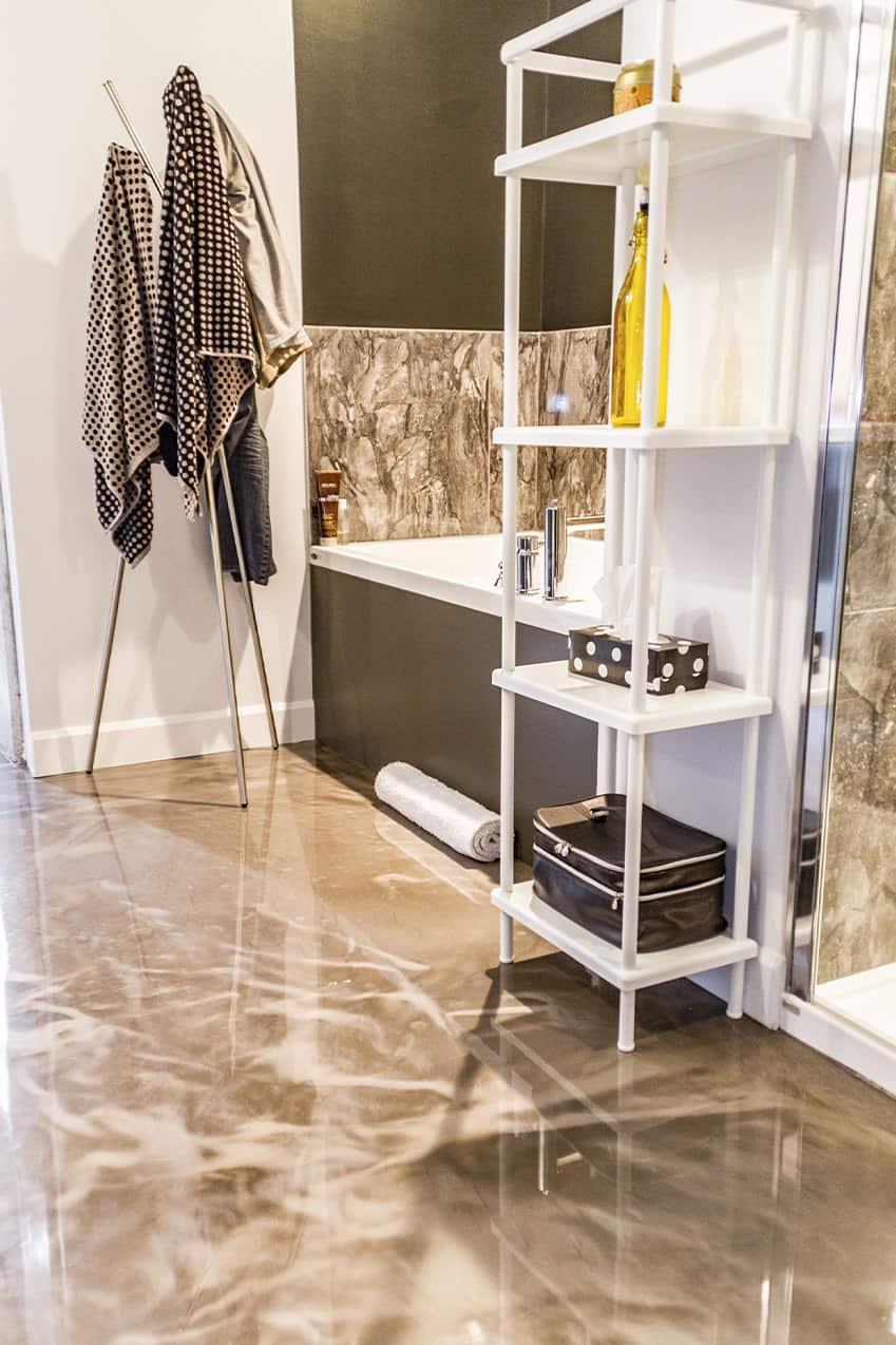 metallic bathroom flooring